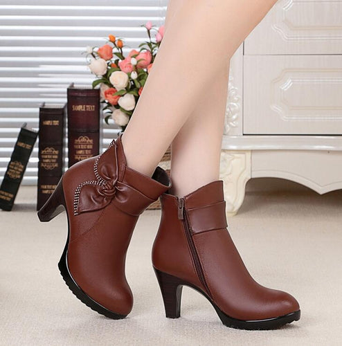 Genuine Leather Heeled Boots With Bow, Available in Black or Brown