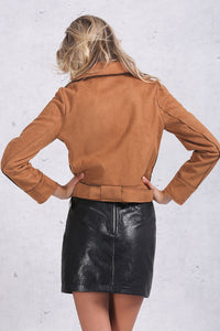 Brown or White Motorcycle Style Suede Jacket