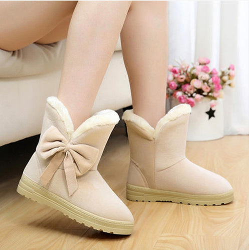 Ankle Fur Winter Boots with Bow
