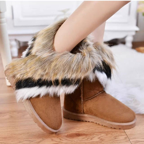 Tri-Color Fur Snow Boots