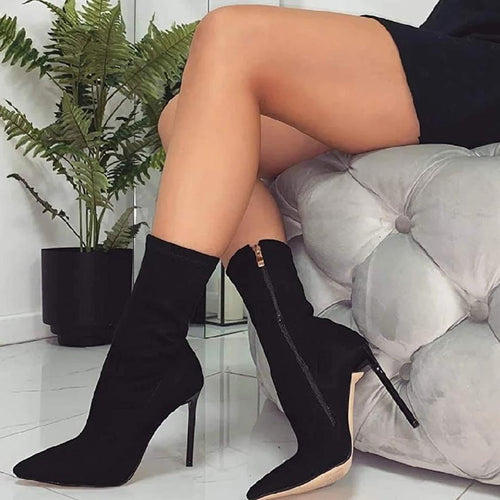Black Ankle Length Pointy Toe Stiletto Boot
