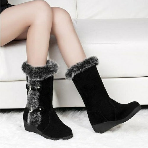 Fur and Buckle Mid-Calf Winter Boots in Black or Brown