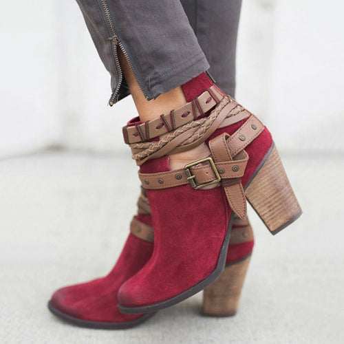 Plush Strappy Ankle Boots in Red, Khaki and Black