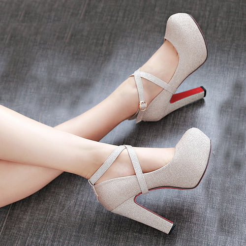 Shiny Platform Heels, Multiple Colors Available