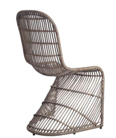 CAROLINE RATTAN CHAIR, GRAY