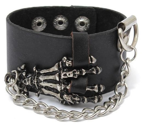 Skeleton Hand Leather Wrist Band