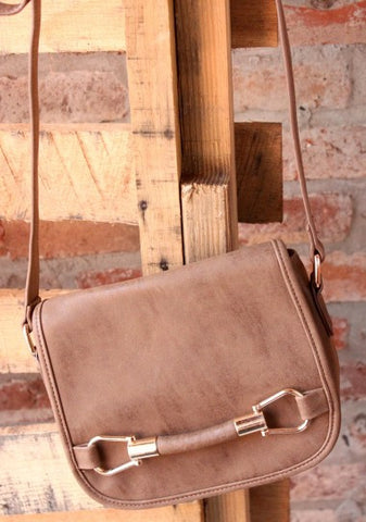 Faux Leather Crossbody- Brown
