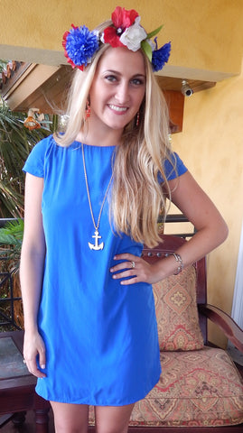 Keyhole Back Shift Dress - Cobalt - Front Door Boutique