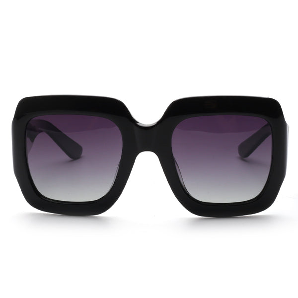 00111 Trendy Square TAC(Polarized) Lenses Acetate Full Frame Acetate Temple Women Sunglasses 54-14-140