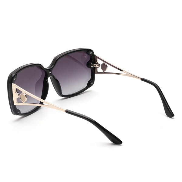 00122 Trendy Square Nylon Lenses Acetate Full Frame Metal Temple Women Sunglasses 64-9-145
