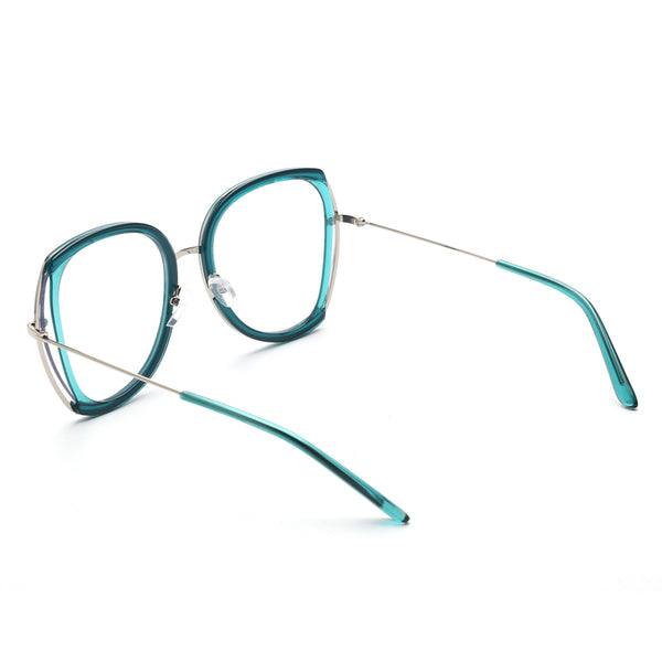 00105 Trendy Round Nylon Lenses Plastic Full Frame Metal Plastic Temple Women Eyeglass Frames 56-10-145