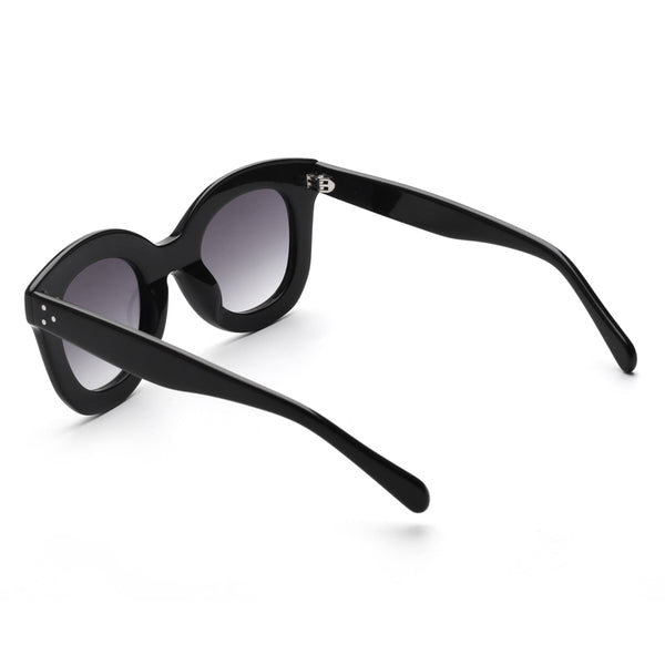 00109 Trendy Round Nylon Lenses Acetate Full Frame Acetate Temple Women Sunglasses 45-8-144
