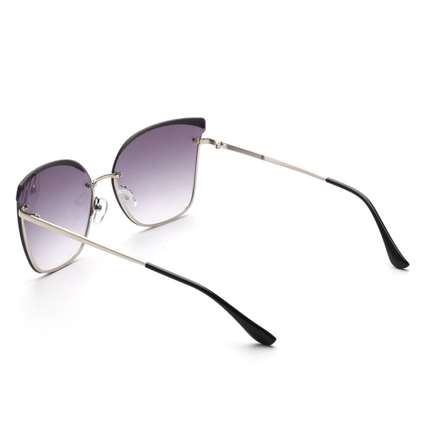 00121 Trendy Cat eye Plastic Lenses Metal  Full Frame Metal CP Temple Women Sunglasses 59-12-140