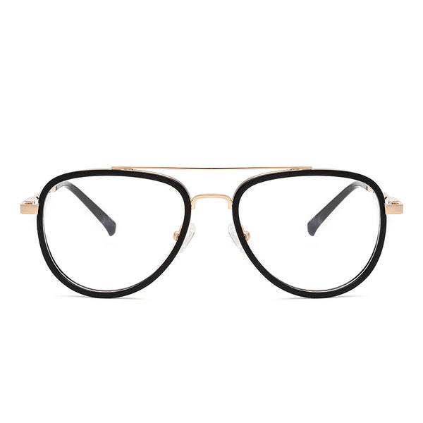 00081 Classic Pilot demo lens Acetate Full Frame Metal Temple Men Eyeglass Frames 52-18-142