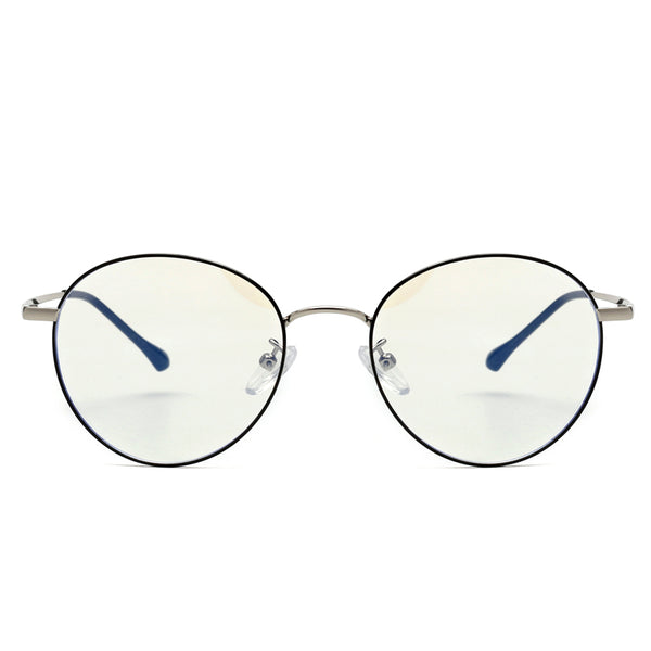 00030 Classic Round demo lens Metal Full Frame Metal Acetate Temple unisex Eyeglass Frames