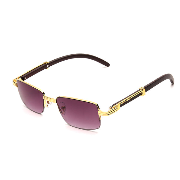 RR1013 Fashion Square PC Lens Metal Half Frame Bamboo Temple Men Sunglasses