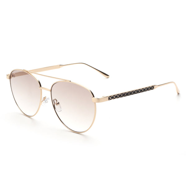 00107 Trendy Round Nylon Lenses Metal  Full Frame Metal Temple Unisex Sunglasses 55-13-136