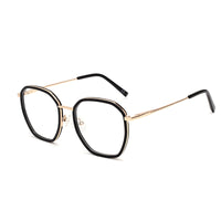 00080 Classic Irregular demo lens Acetate Full Frame Metal Temple Women Eyeglass Frames 52-19-142
