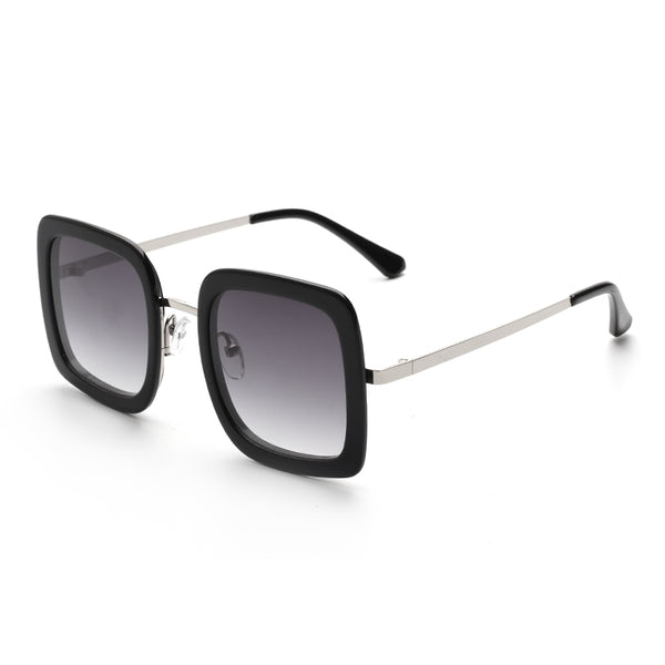 00106 Trendy Square Nylon Lenses Acetate&Metal  Full Frame Metal CP Temple Women Sunglasses 46-15-145