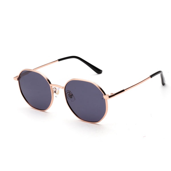 00022 Trendy Round TAC(Polarized) Lenses Metal Full Frame Metal Acetate Temple Women Sunglasses