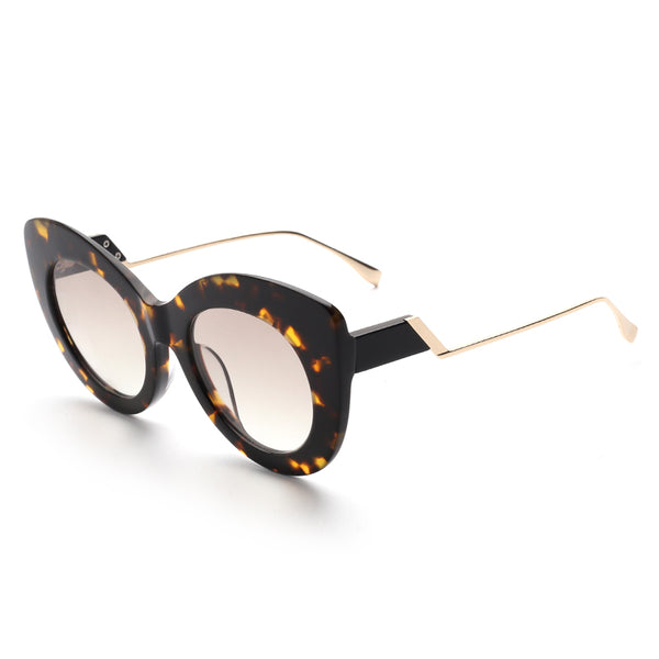 00112 Trendy Cat eye Nylon Lenses Acetate Full Frame Metal Temple Women Sunglasses 51-11-145