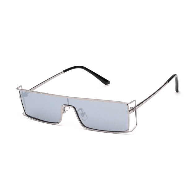 00090 Trendy Square Plastic Lenses Metal Full Frame Metal Temple Men Sunglasses 130-0-148