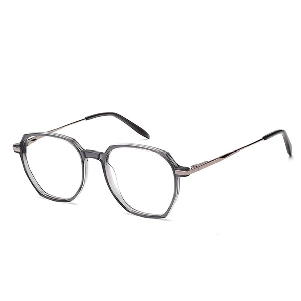 00016 Trendy Irregular demo lens TR Full Frame Metal Acetate Temple unisex Eyeglass Frames 51-18-145