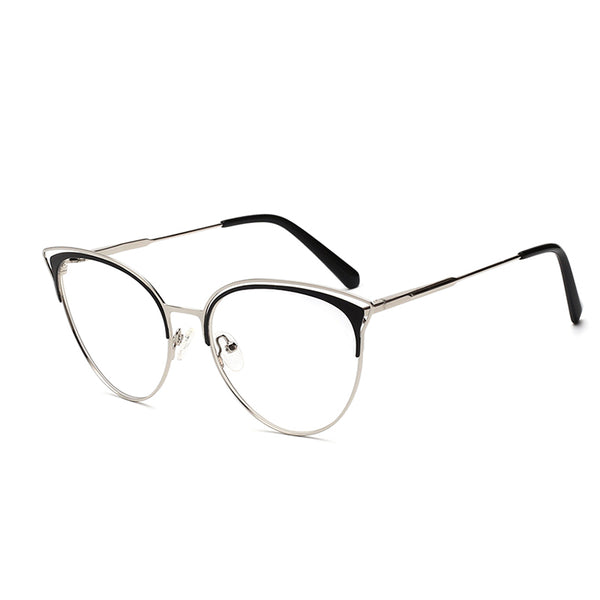 00015 Trendy Cat eye demo lens Metal Full Frame Metal Acetate Temple women Eyeglass Frames 56-17-140