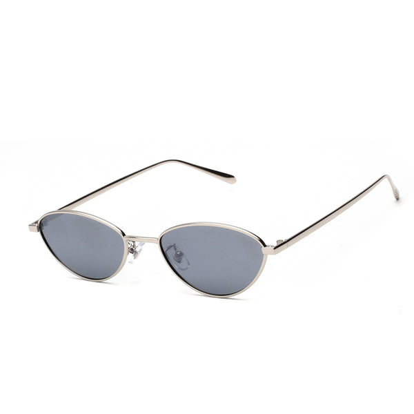 00025 Trendy Irregular TAC(Polarized) Lenses Metal Full Frame Metal Temple Women Sunglasses 54-19-146