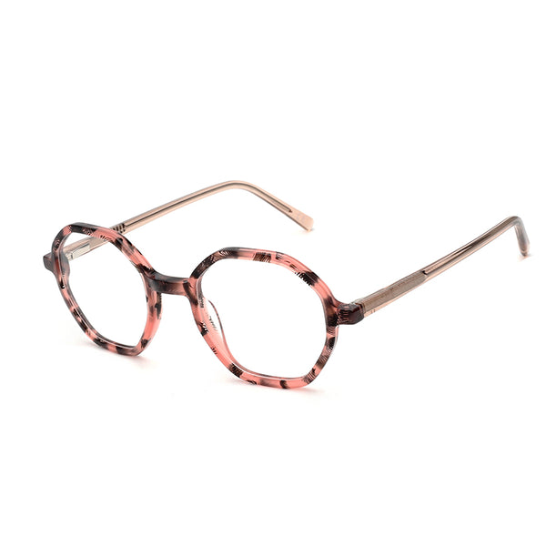00075 Classic Irregular demo lens Acetate Full Frame Acetate Temple Women Eyeglass Frames 47-22-142