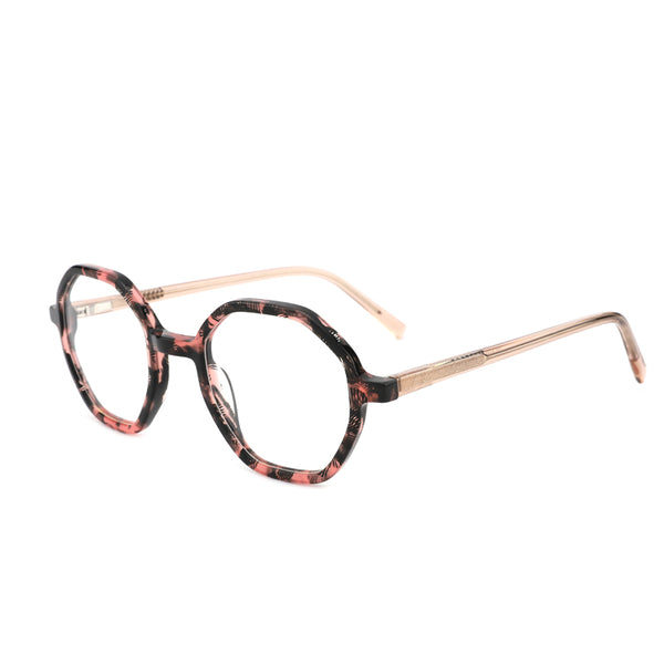 00037 Trendy Irregular demo lens Acetate Full Frame Acetate Temple Women Eyeglass Frames