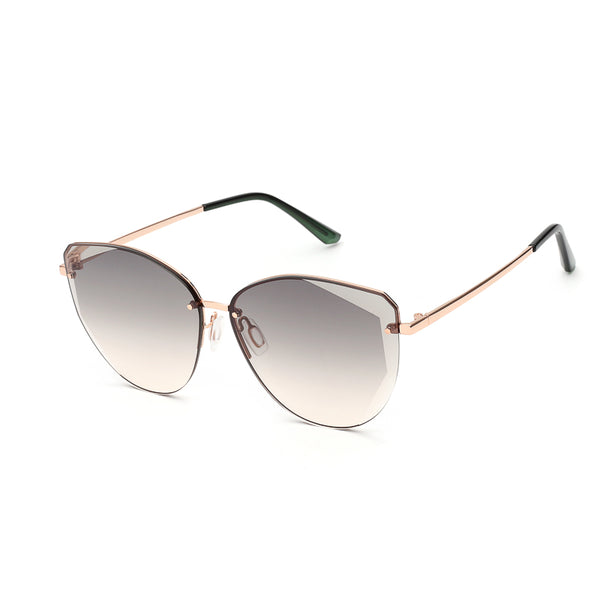 00091 Trendy Cat eye Plastic Lenses Metal Rimless Frame Metal Temple Women Sunglasses 64-12-148
