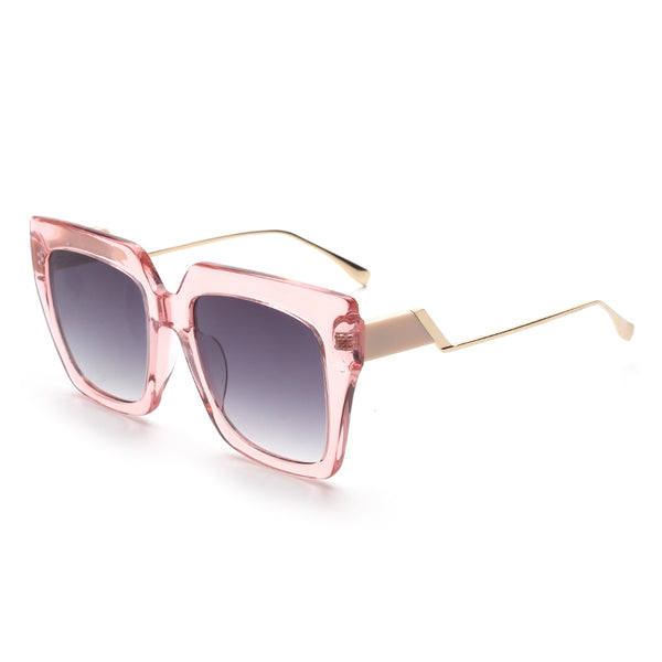 00110 Trendy Square Nylon Lenses Acetate Full Frame Metal Temple Women Sunglasses 52-9-145