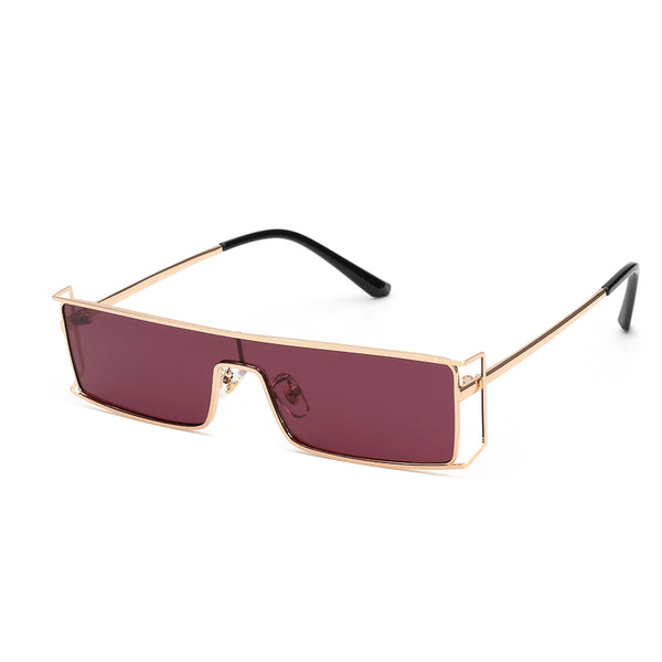00090 Trendy Square Plastic Lenses Metal Full Frame Metal Temple Men Sunglasses