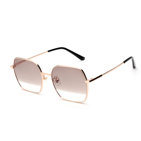 00026 Trendy square TAC(Polarized) Lenses Metal Full Frame Metal Acetate Temple unisex Sunglasses 56-18-148