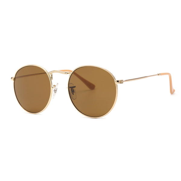 LD1009 Classic Round Glass Lens Metal Full Frame Stainless&PC Temple Men sunglasses