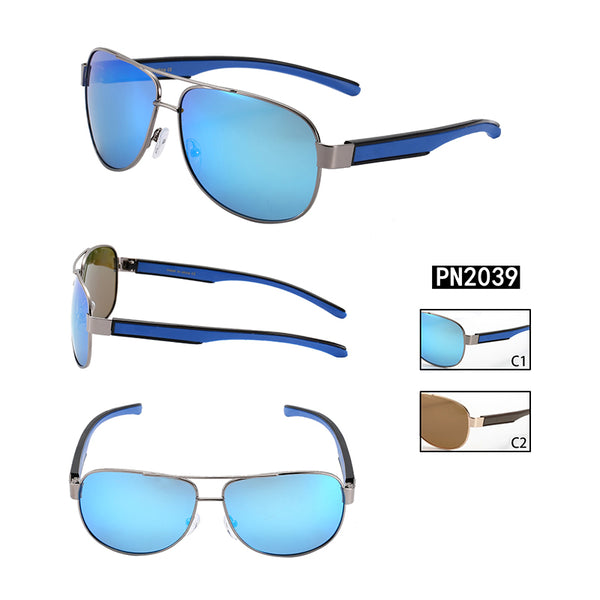 PN2039 Classic Square PC Lens Metal Full Frame Stainless&PC Temple Men sunglasses