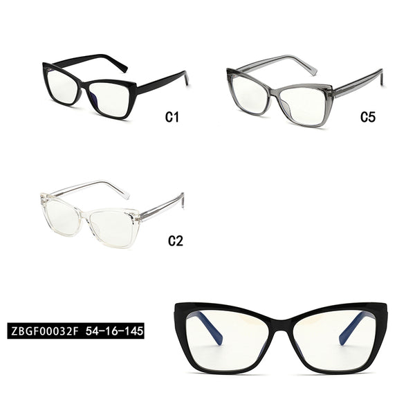 00032 Trendy Cat Eye demo lens Acetate Full Frame Acetate Temple women Eyeglass Frames 54-16-145