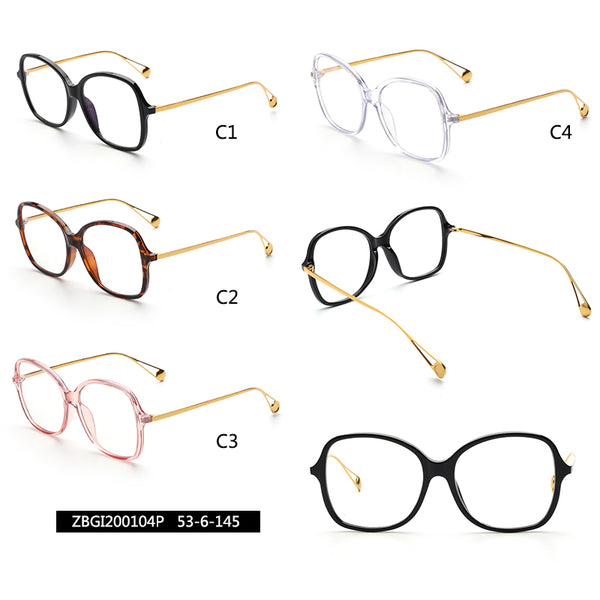 00104 Trendy Round Nylon Lenses Acetate Full Frame Metal Temple Women Eyeglass Frames 53-6-145