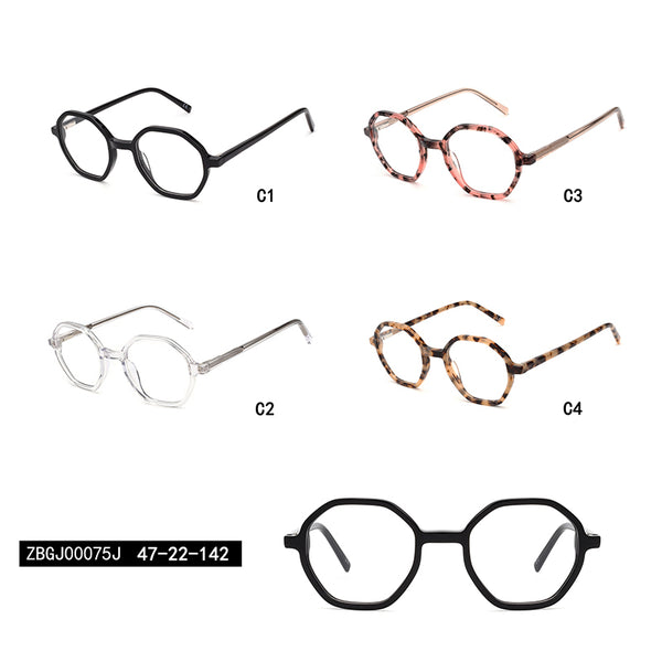 00075 Classic Irregular demo lens Acetate Full Frame Acetate Temple Women Eyeglass Frames