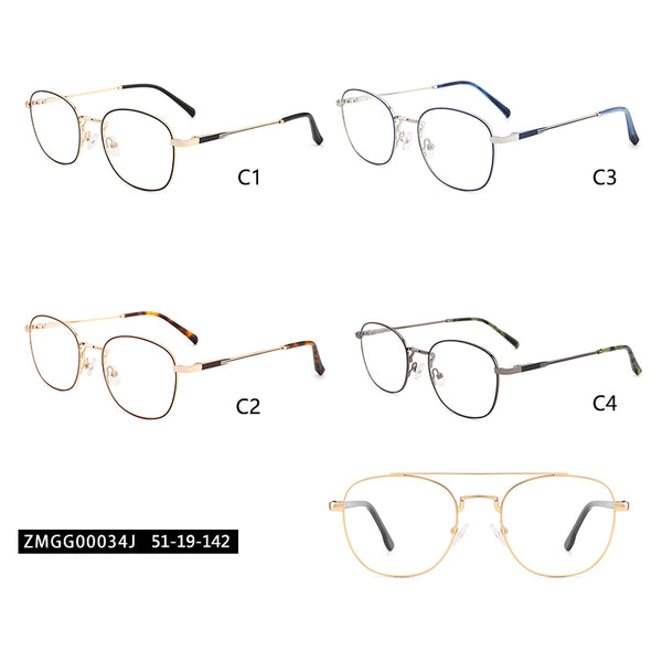 00034 Classic Square demo lens Metal Full Frame Metal Acetate Temple Unisex Eyeglass Frames 51-19-142