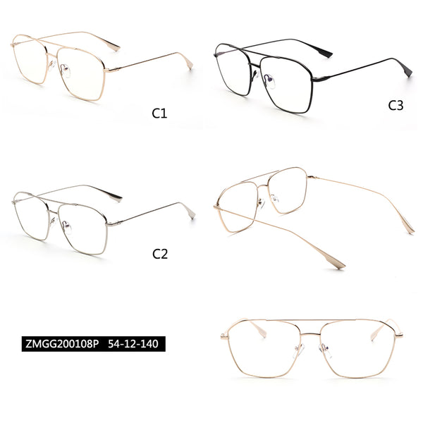 00108 Trendy Square Nylon Lenses Metal  Full Frame Metal Temple Men Eyeglass Frames 54-12-140