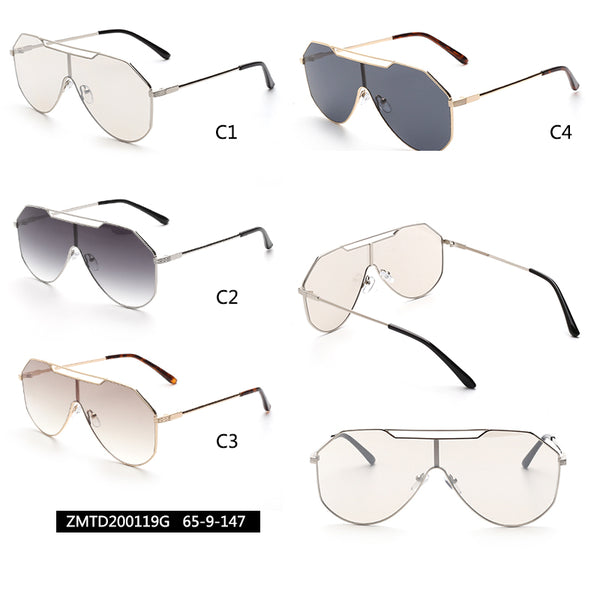00119 Trendy Mask Nylon Lenses Metal  Full Frame Metal CP Temple Men Sunglasses 65-9-147