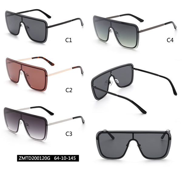 00120 Trendy Mask Plastic Lenses Metal  Full Frame Metal CP Temple Men Sunglasses 64-10-145