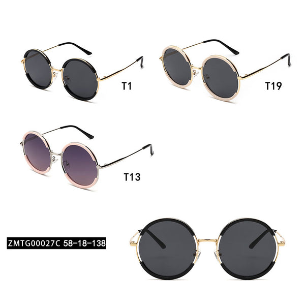 00027 Trendy Round TAC(Polarized) Lenses TR full Frame Metal Acetate Temple Women Sunglasses 58-18-138