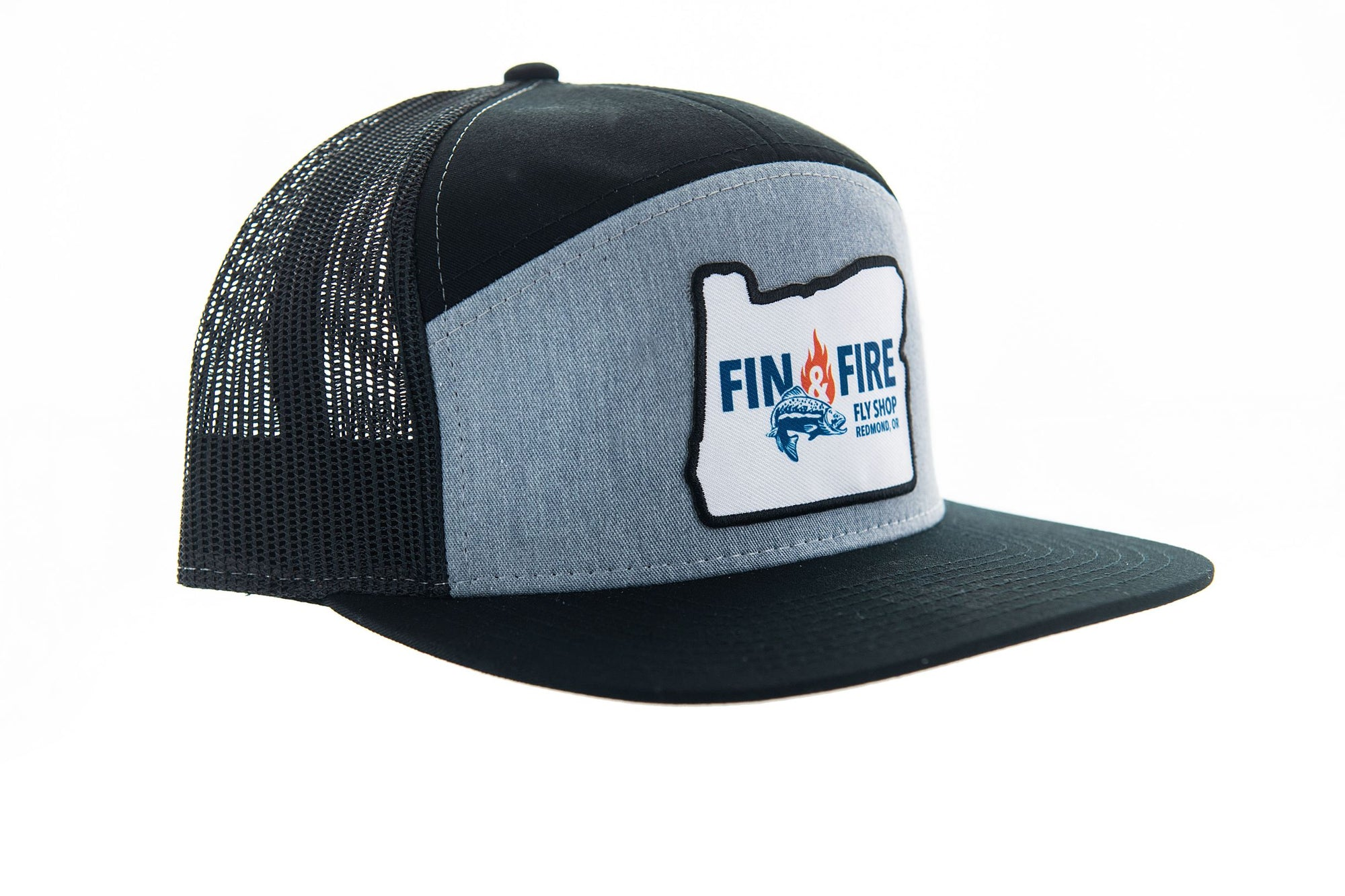 Fin & Fire Logo Hat:  Heather Grey/Black