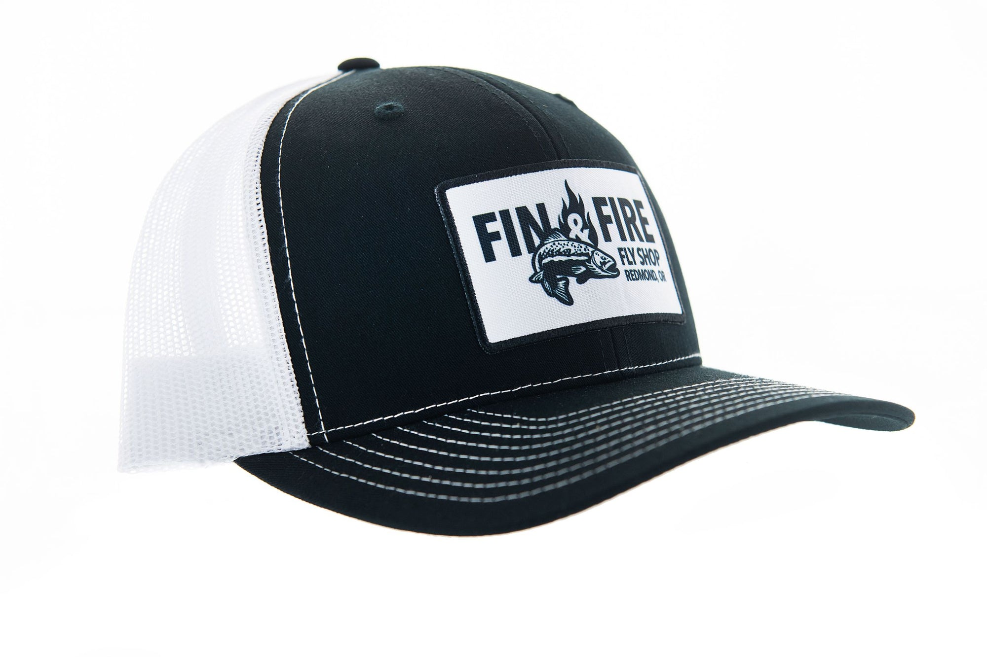 Fin & Fire Logo Hat: Black/White