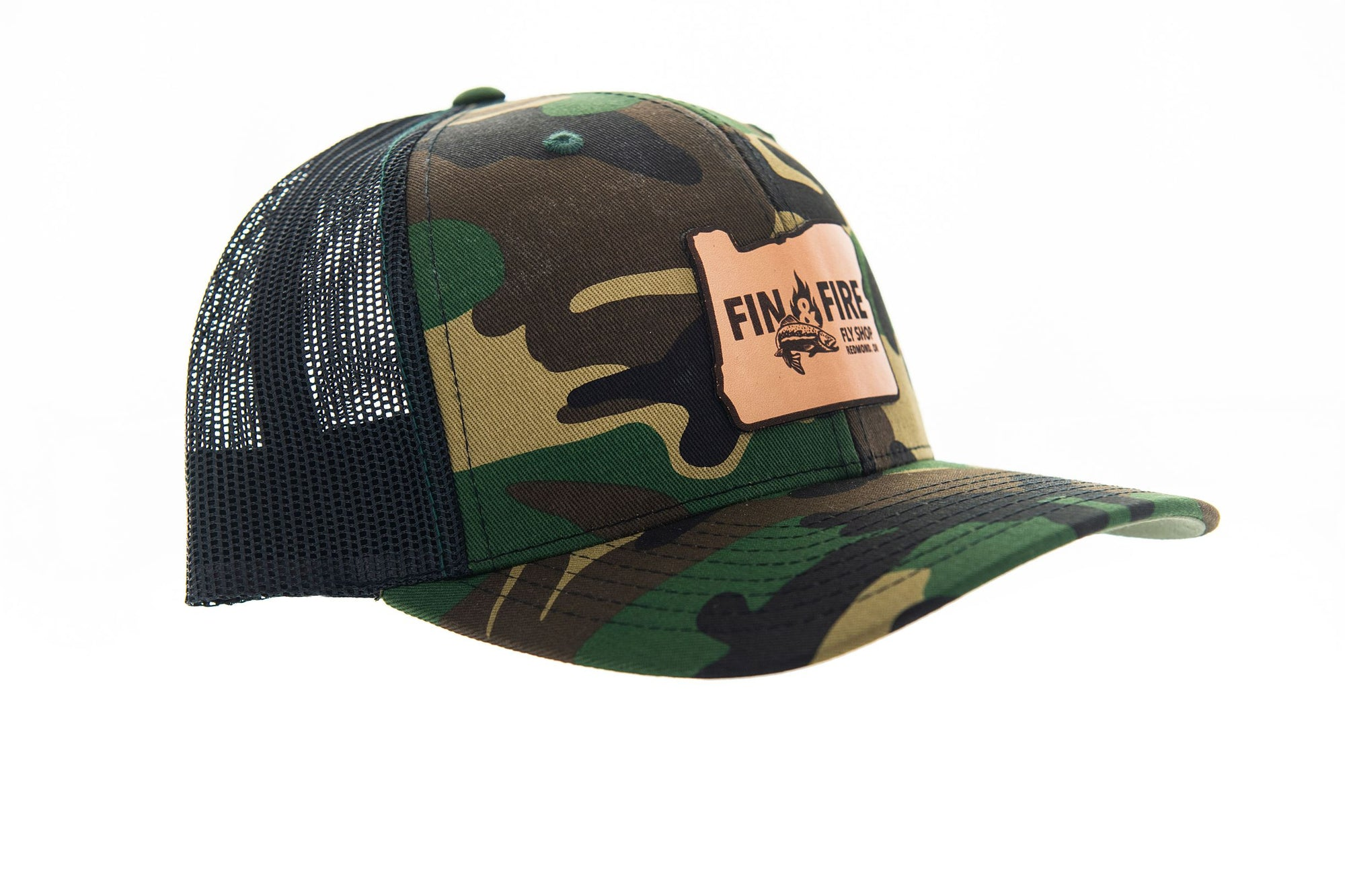 Fin & Fire Logo Hat: Camo/Black