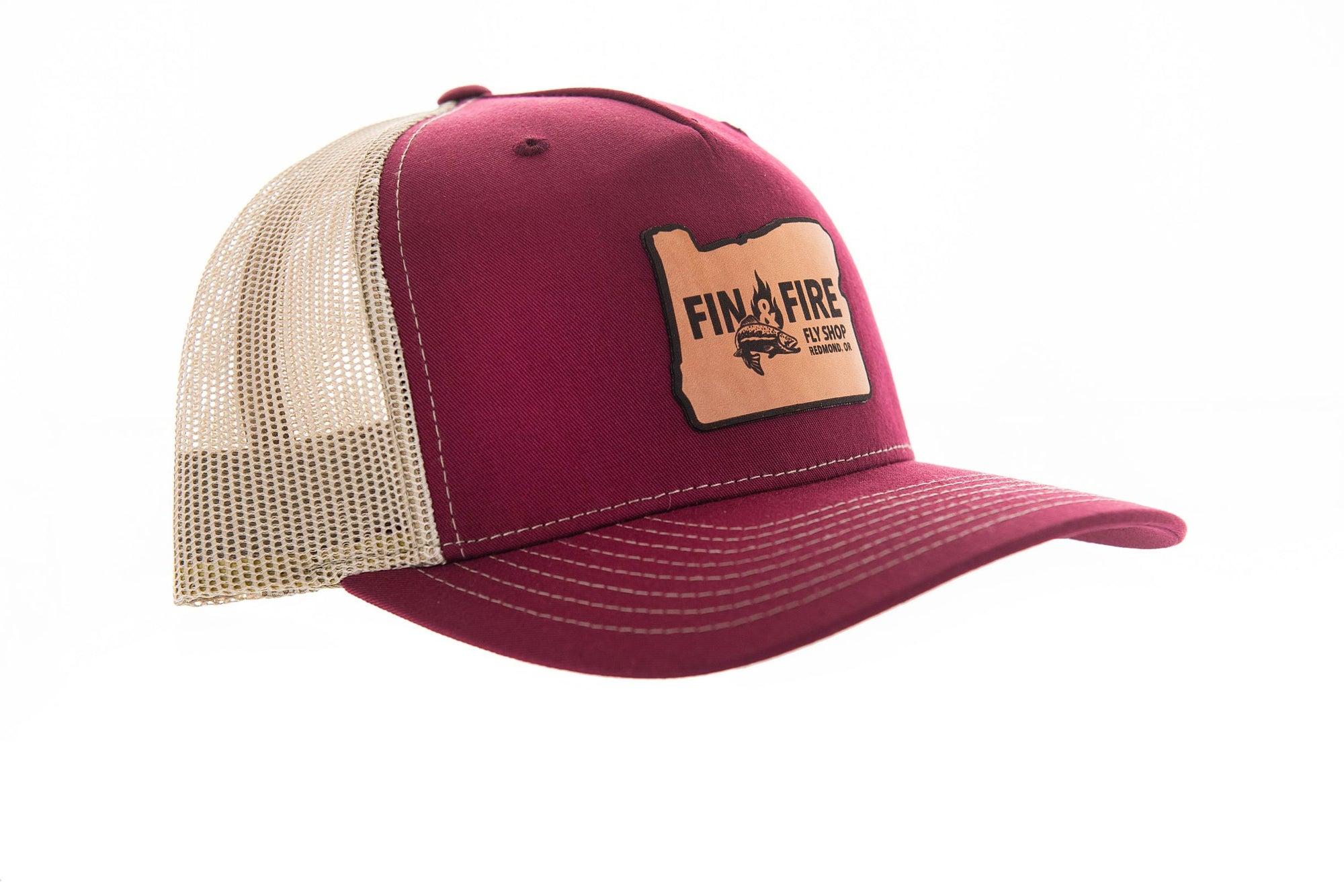 Fin & Fire Logo Hat:  Cardinal Red/Tan