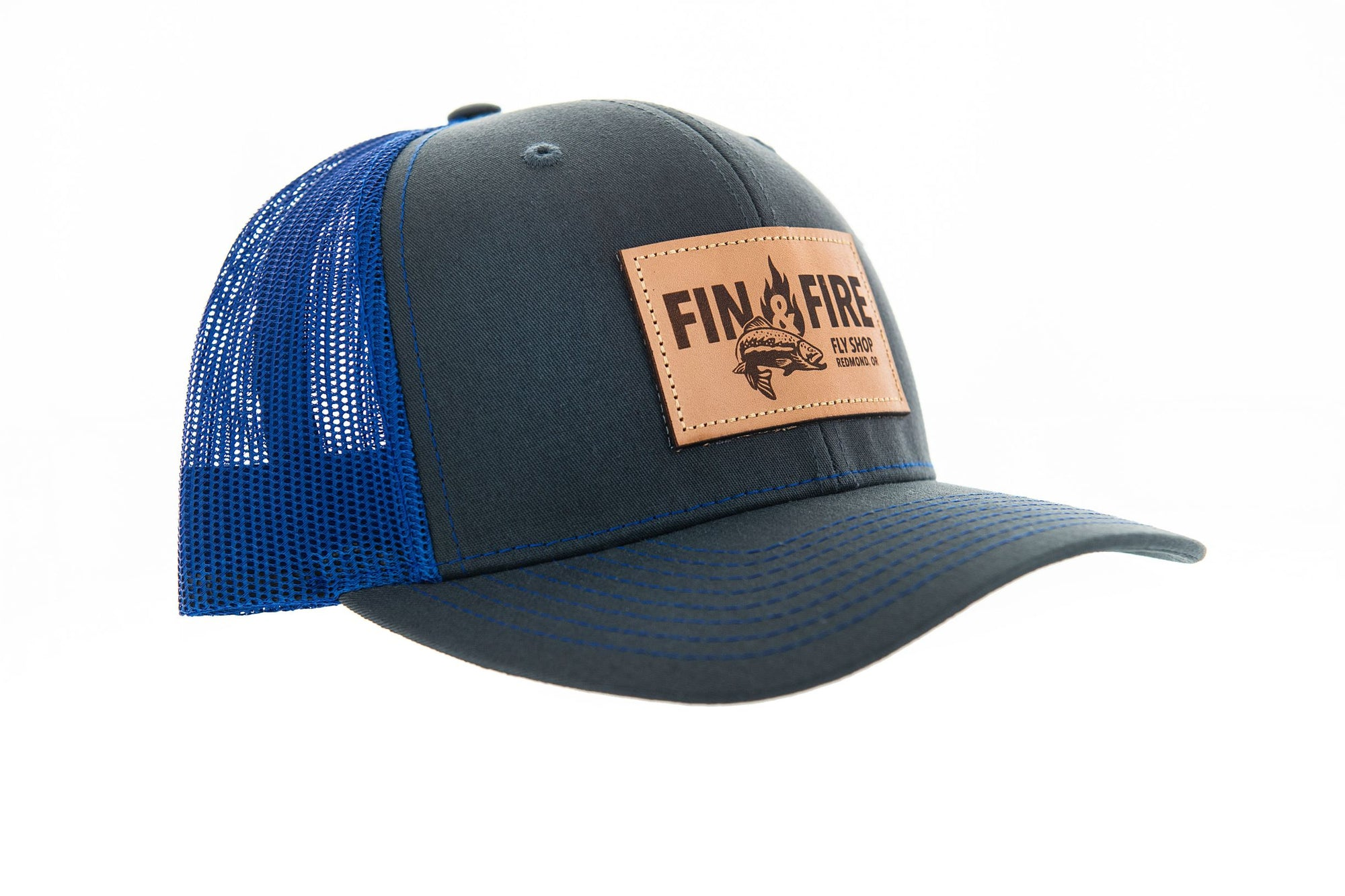 Fin & Fire Logo Hat: Charcoal/Royal Blue